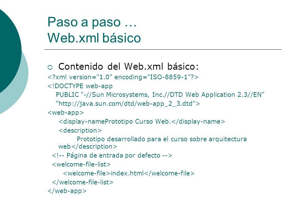 Paso a paso … Web.xml básico Contenido del Web.xml básico: <!DOCTYPE web-app PUBLIC
