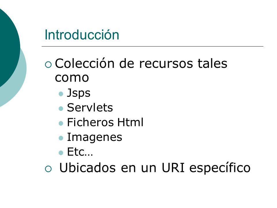 Aplicaciones Web J2EE Una aplicación web está organizada en una estructura jerárquica de directorios dos partes Un directorio privado WEB-INF contiene los recursos que no son descargables para el cliente Un directorio público que contiene los recursos públicos Ejemplo: miaplicación\ Index.html login.jsp images\ logo.gif doc\ tutorial.pdf WEB-INF\ web.xml (Deployment Descriptor) classes\ ServletCompras.class lib\ cualquierOtraApi.jar Una aplicación web puede ser empaquetada en un fichero WAR.