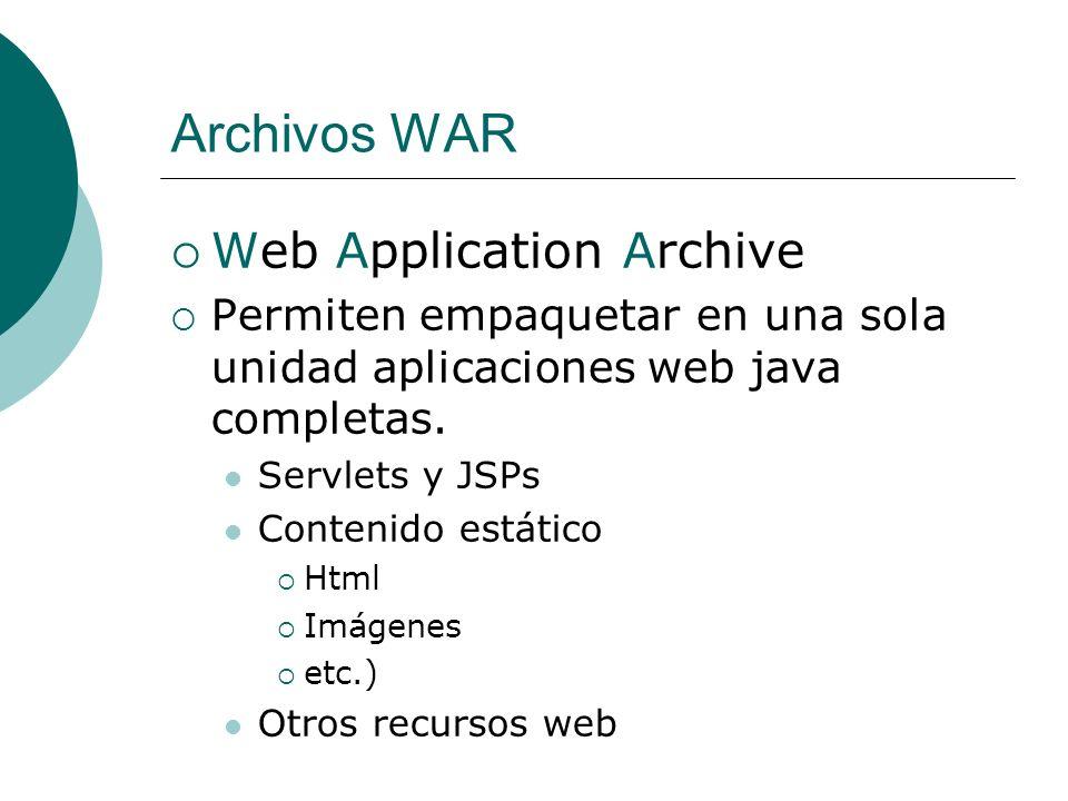 Archivos WAR Web Application Archive Permiten empaquetar en una sola unidad aplicaciones web java completas. Servlets y JSPs Contenido estático Html I