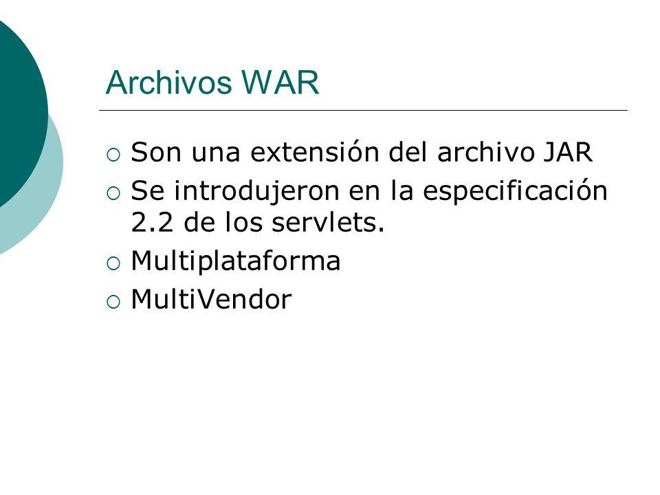 Archivos WAR Son una extensión del archivo JAR Se introdujeron en la especificación 2.2 de los servlets. Multiplataforma MultiVendor