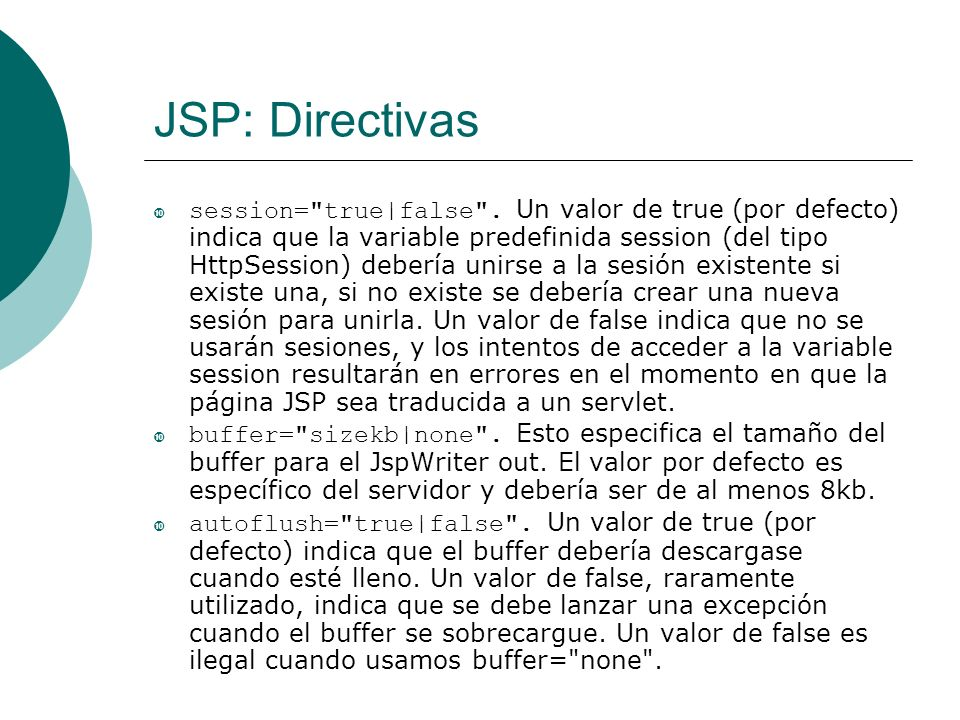 JSP: Directivas session=