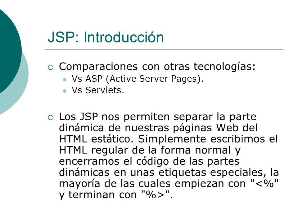 JSP: Scriptlets SCRIPTLETS: que se insertan dentro del método service del servlet.