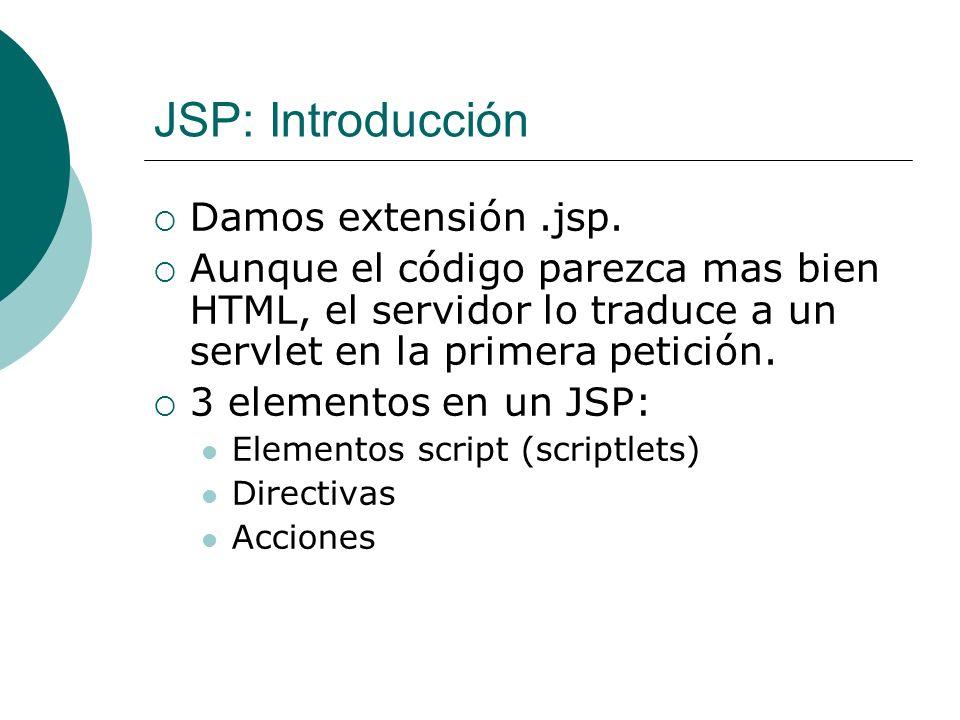 JSP: Acciones Usan construcciones de síntaxis XML para controlar el comportamiento del motor de Servlets.
