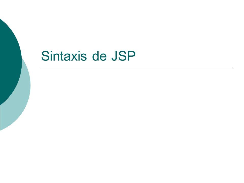 JSP: Acciones: useBean La forma más sencilla de usar un Bean es usar: <jsp:useBean id= name class= package.class /
