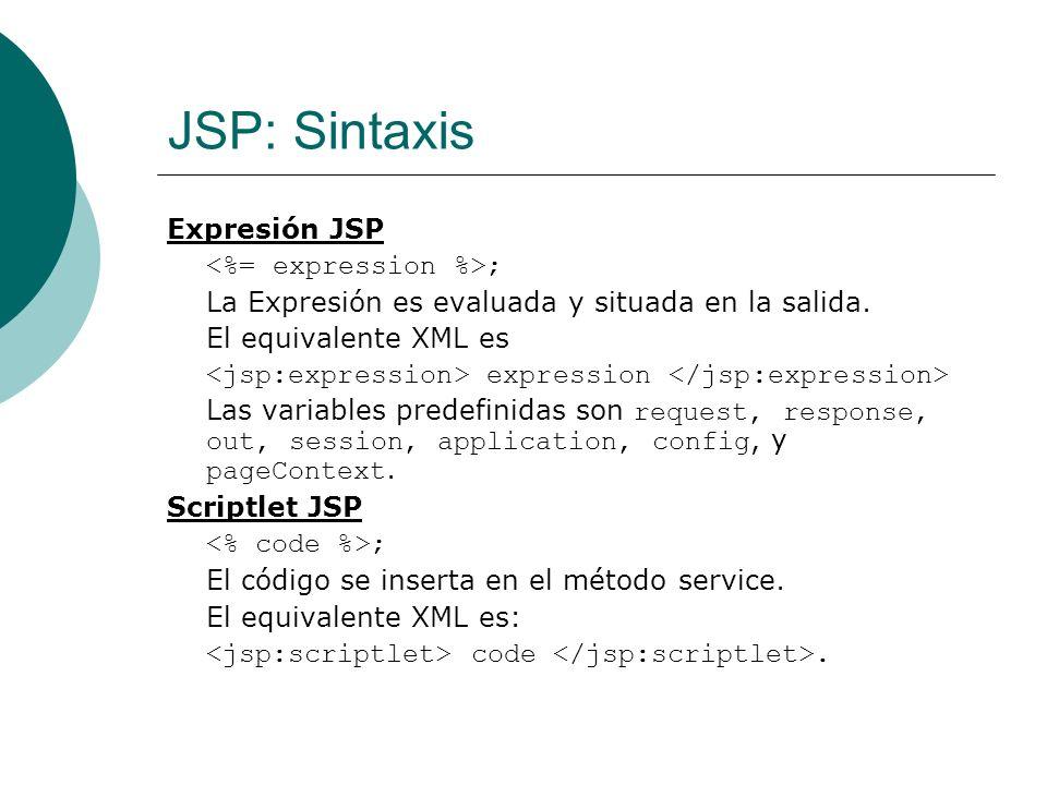 JSP: Sintaxis Declaración JSP El código se inserta en el cuerpo de la clase del servlet, fuera del método service.