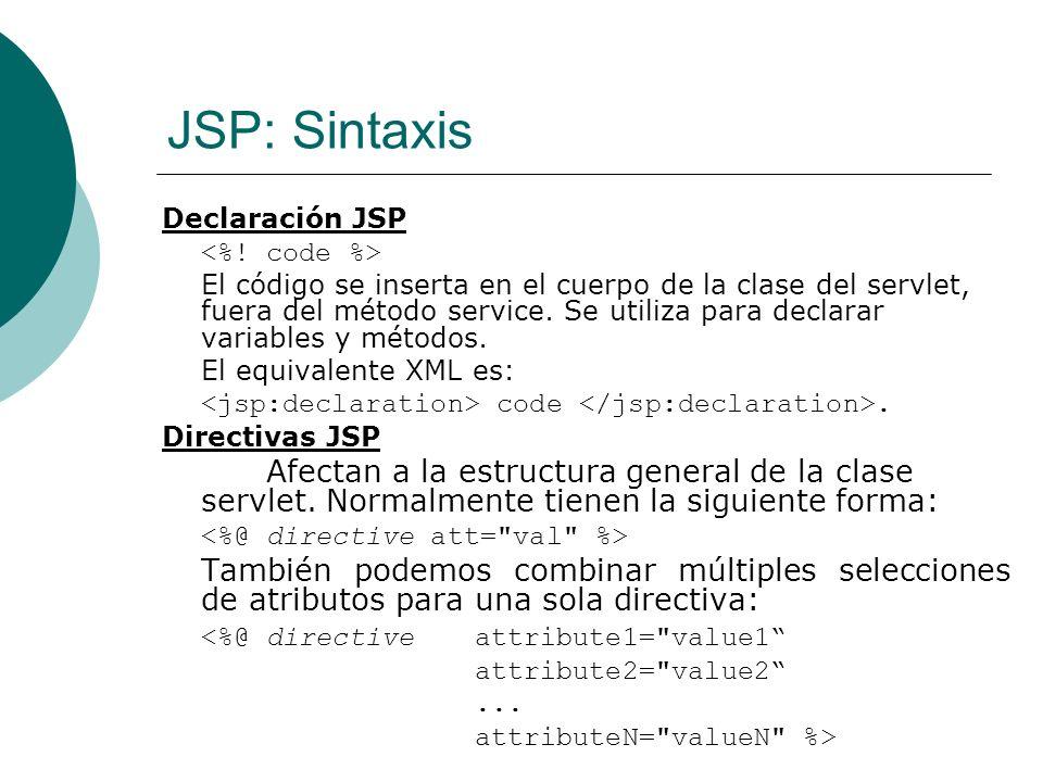 JSP: Sintaxis Comentario JSP Comentario ignorado cuando se traduce la página JSP en un servlet.