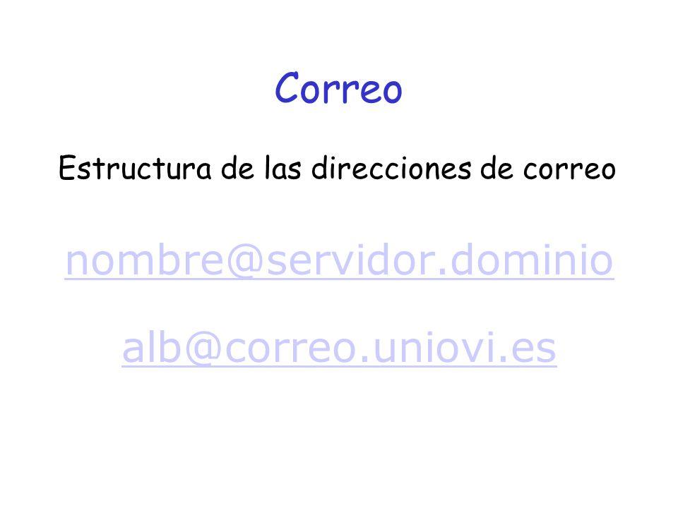 Correo Estructura de las direcciones de correo nombre@servidor.dominio alb@correo.uniovi.es