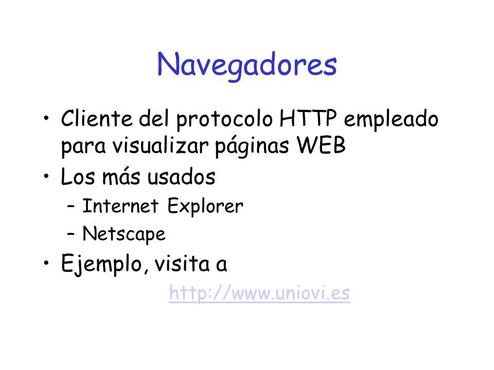 Navegadores Cliente del protocolo HTTP empleado para visualizar páginas WEB Los más usados –Internet Explorer –Netscape Ejemplo, visita a http://www.uniovi.es