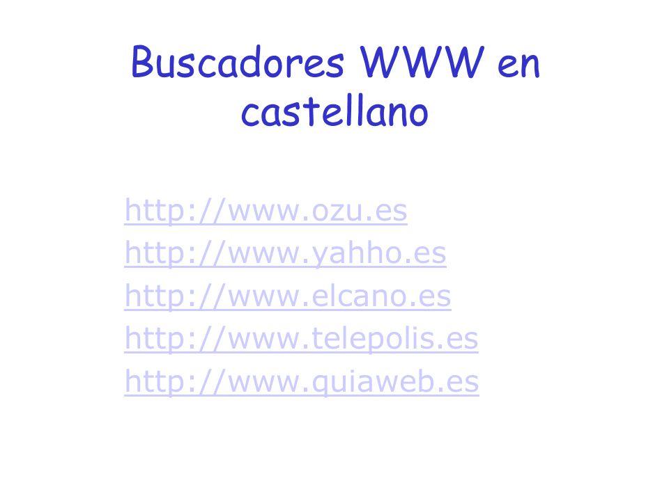 Buscadores WWW en castellano http://www.ozu.es http://www.yahho.es http://www.elcano.es http://www.telepolis.es http://www.quiaweb.es