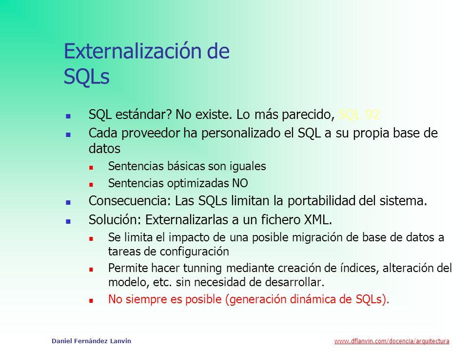 www.dflanvin.com/docencia/arquitectura Daniel Fernández Lanvin Externalización de SQLs SQL estándar? No existe. Lo más parecido, SQL 92 Cada proveedor