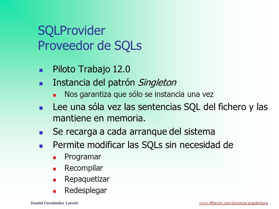 www.dflanvin.com/docencia/arquitectura Daniel Fernández Lanvin SQLProvider Proveedor de SQLs Piloto Trabajo 12.0 Instancia del patrón Singleton Nos ga