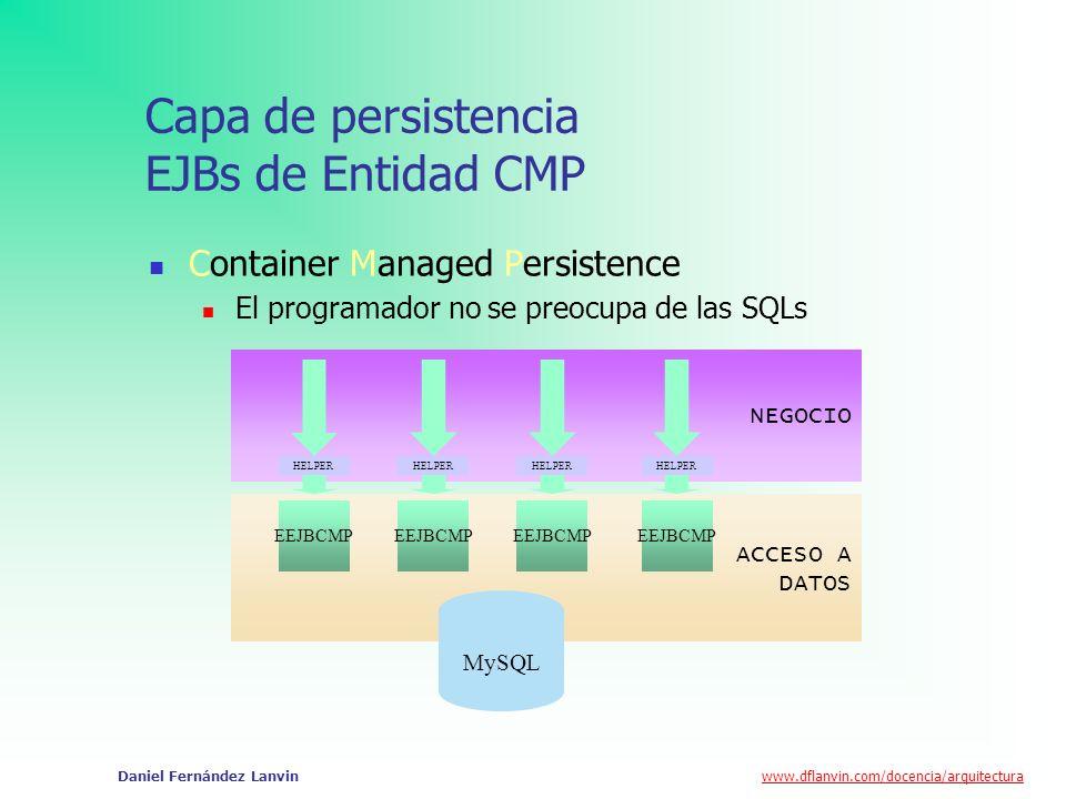 www.dflanvin.com/docencia/arquitectura Daniel Fernández Lanvin Capa de persistencia EJBs de Entidad BMP NEGOCIO ACCESO A DATOS MySQL EEJBBMP HELPER SQLProvider Statements.xml Bean Managed Persistence El programador debe desarrollar las SQLs