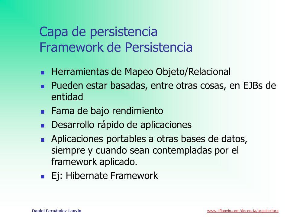 www.dflanvin.com/docencia/arquitectura Daniel Fernández Lanvin Capa de persistencia Framework de Persistencia Herramientas de Mapeo Objeto/Relacional