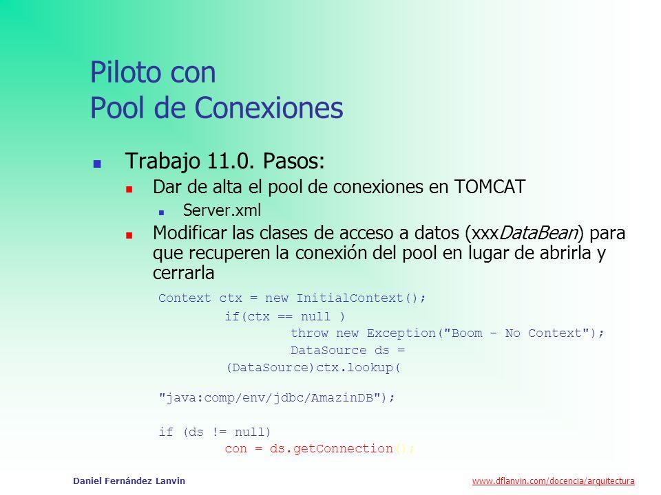www.dflanvin.com/docencia/arquitectura Daniel Fernández Lanvin Piloto con Pool de Conexiones Trabajo 11.0. Pasos: Dar de alta el pool de conexiones en