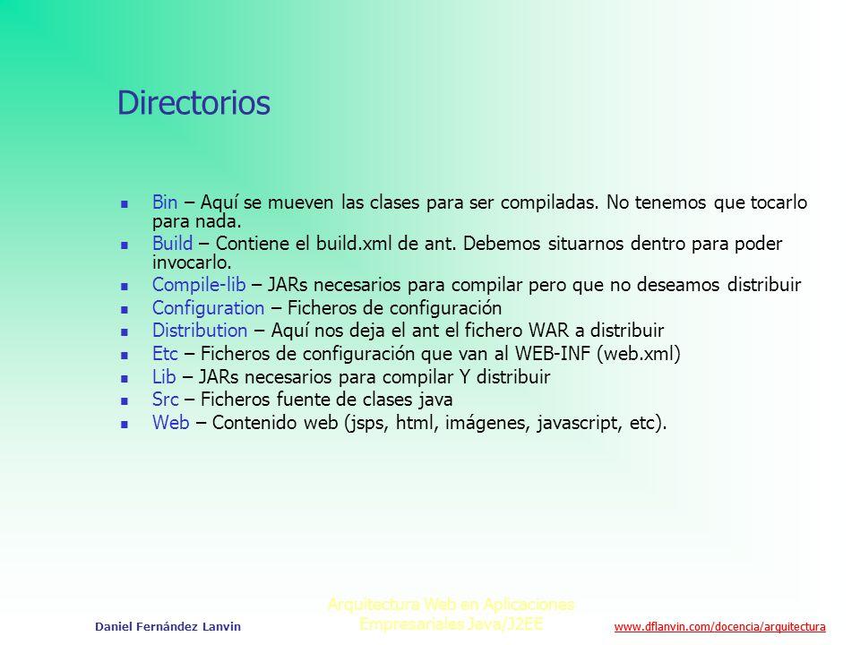 www.dflanvin.com/docencia/arquitectura Arquitectura Web en Aplicaciones Empresariales Java/J2EE Daniel Fernández Lanvin Directorios Bin – Aquí se muev