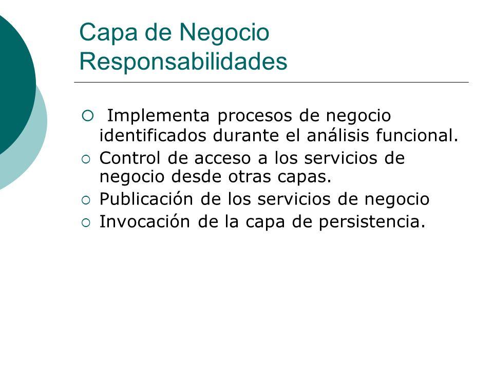 Implementación de Procesos de Negocio Independientes de los aspectos de presentación.