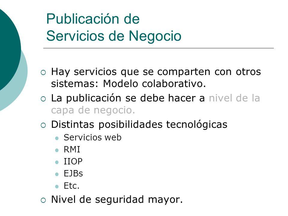 Publicación de Servicios de Negocio Hay servicios que se comparten con otros sistemas: Modelo colaborativo.