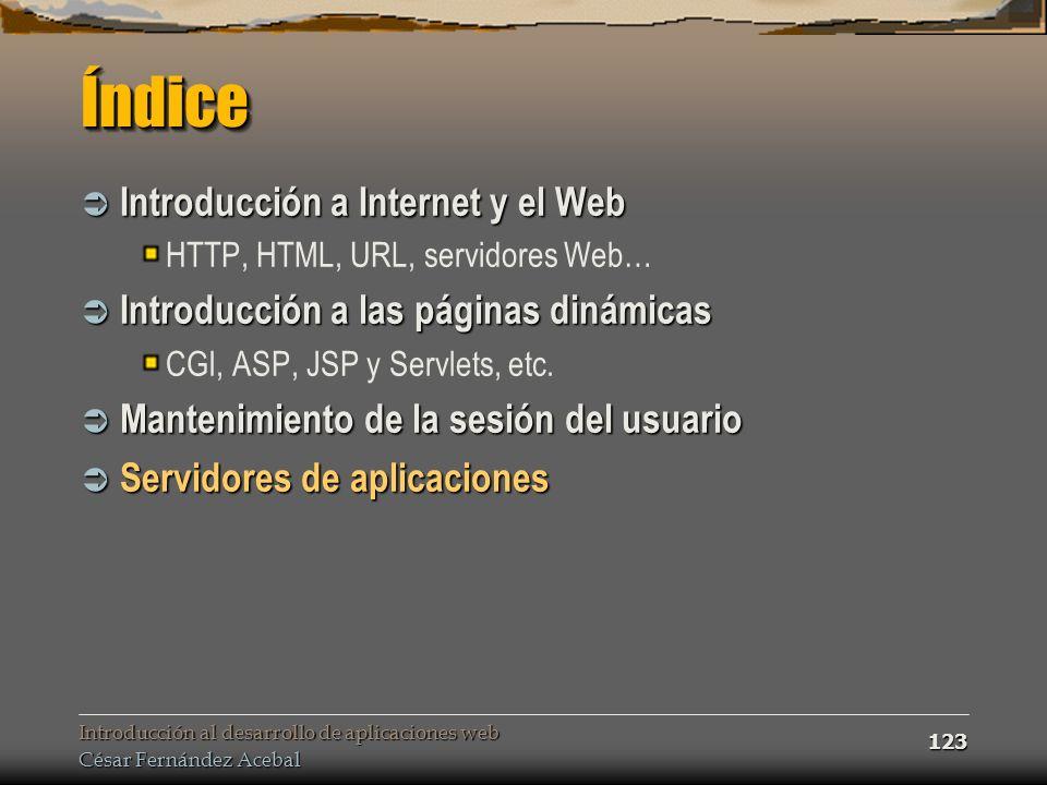 Introducción al desarrollo de aplicaciones web César Fernández Acebal 123 ÍndiceÍndice Introducción a Internet y el Web Introducción a Internet y el W