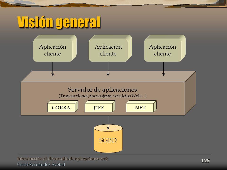 Introducción al desarrollo de aplicaciones web César Fernández Acebal 125 Visión general Servidor de aplicaciones (Transacciones, mensajería, servicio