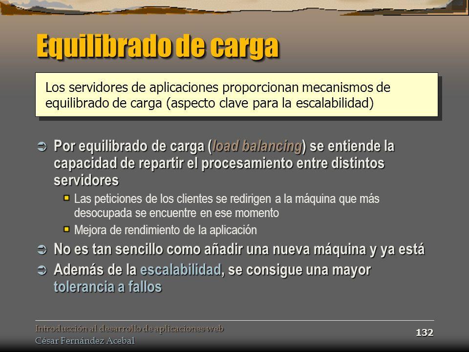 Introducción al desarrollo de aplicaciones web César Fernández Acebal 132 Equilibrado de carga Por equilibrado de carga ( load balancing ) se entiende