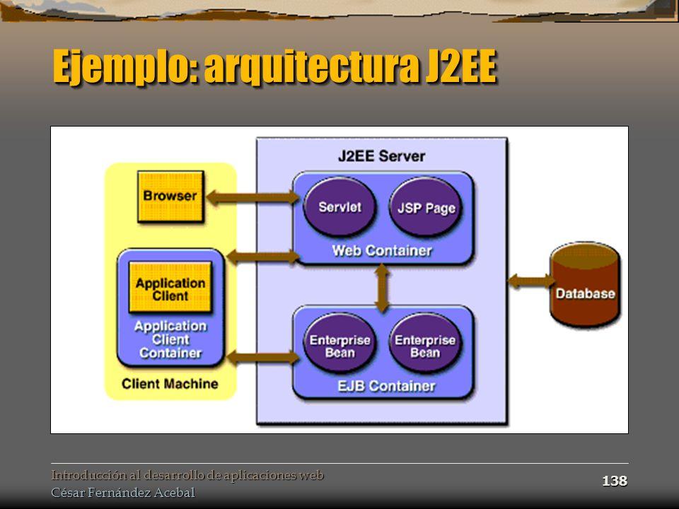 Introducción al desarrollo de aplicaciones web César Fernández Acebal 138 Ejemplo: arquitectura J2EE