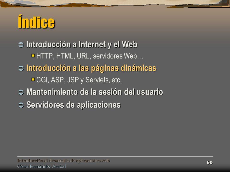 Introducción al desarrollo de aplicaciones web César Fernández Acebal 60 ÍndiceÍndice Introducción a Internet y el Web Introducción a Internet y el Web HTTP, HTML, URL, servidores Web… Introducción a las páginas dinámicas Introducción a las páginas dinámicas CGI, ASP, JSP y Servlets, etc.