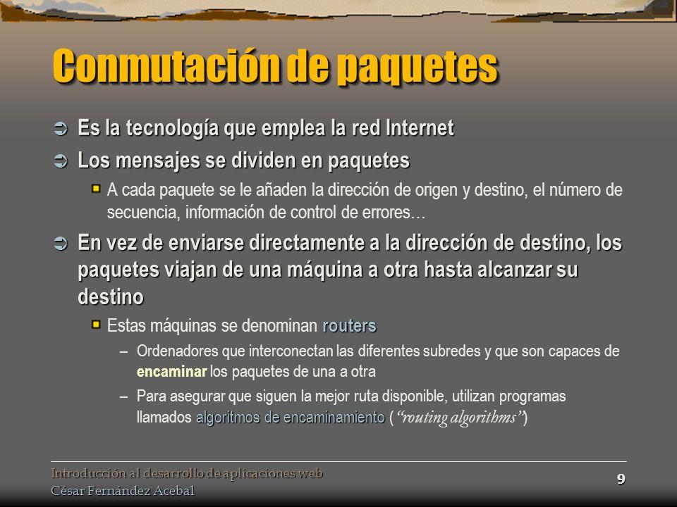 Introducción al desarrollo de aplicaciones web César Fernández Acebal 20 Esquema Cliente/Servidor