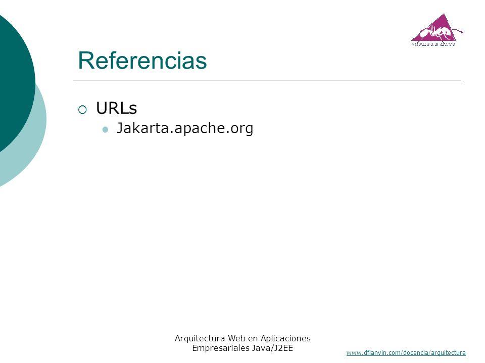 www.dflanvin.com/docencia/arquitectura Arquitectura Web en Aplicaciones Empresariales Java/J2EE Referencias URLs Jakarta.apache.org