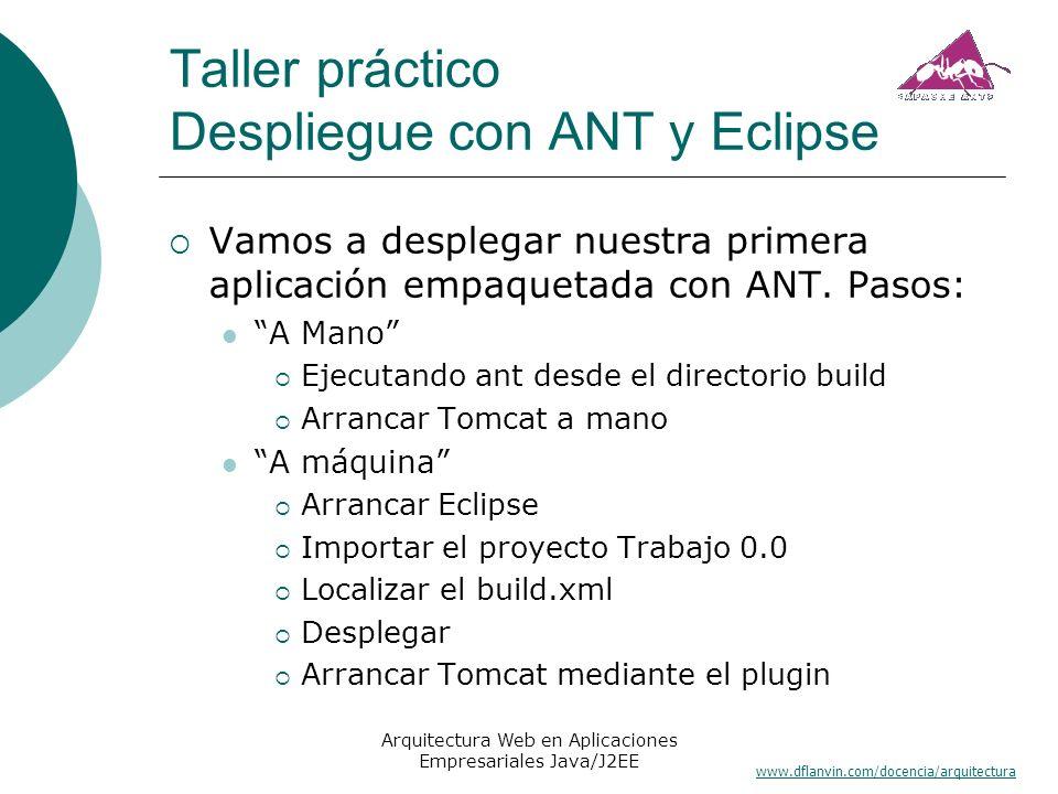 www.dflanvin.com/docencia/arquitectura Arquitectura Web en Aplicaciones Empresariales Java/J2EE Taller práctico Despliegue con ANT y Eclipse Vamos a d