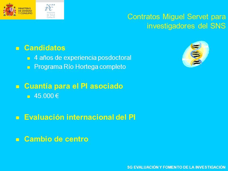 Candidatos 4 años de experiencia posdoctoral Programa Río Hortega completo Cuantía para el PI asociado 45.000 Evaluación internacional del PI Cambio de centro Contratos Miguel Servet para investigadores del SNS SG EVALUACIÓN Y FOMENTO DE LA INVESTIGACIÓN