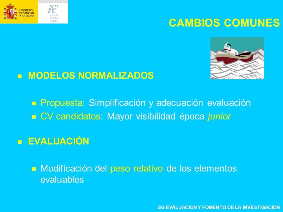 CAMBIOS COMUNES MODELOS NORMALIZADOS Propuesta: Simplificación y adecuación evaluación CV candidatos: Mayor visibilidad época junior EVALUACIÓN Modifi