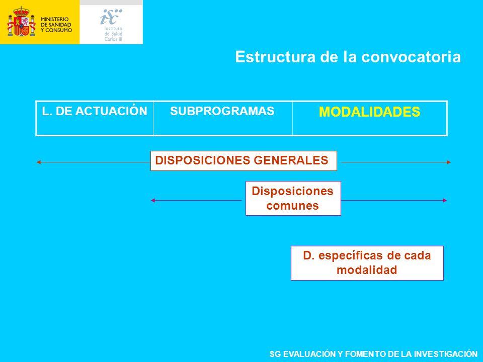 L. DE ACTUACIÓNSUBPROGRAMAS MODALIDADES DISPOSICIONES GENERALES Disposiciones comunes Estructura de la convocatoria SG EVALUACIÓN Y FOMENTO DE LA INVE