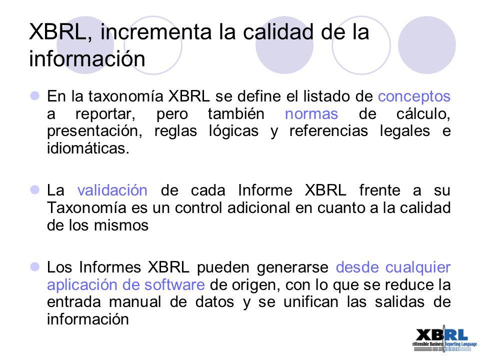 Es libre de royalties, gratuito Formato estándar por el gran número de entidades y organismos públicos a nivel internacional que lo avalan Es extensible, una empresa puede extender la taxonomía del regulador para representar y reportar más información sin perder compatibilidad XBRL, incrementa la calidad de la información (II)