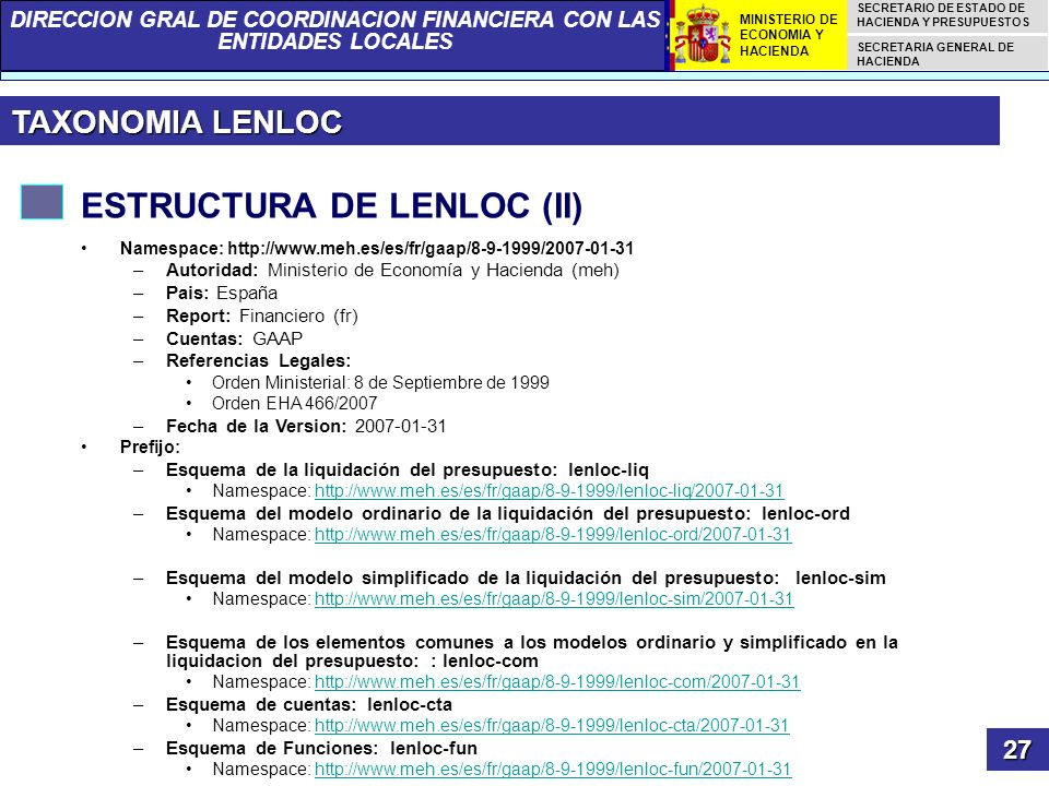 DIRECCION GRAL DE COORDINACION FINANCIERA CON LAS ENTIDADES LOCALES SECRETARIO DE ESTADO DE HACIENDA Y PRESUPUESTOS SECRETARIA GENERAL DE HACIENDA MIN