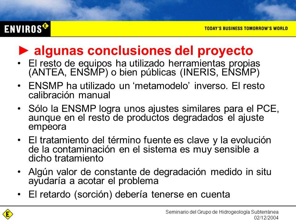 Seminario del Grupo de Hidrogeología Subterránea 02/12/2004 El resto de equipos ha utilizado herramientas propias (ANTEA, ENSMP) o bien públicas (INERIS, ENSMP) ENSMP ha utilizado un metamodelo inverso.