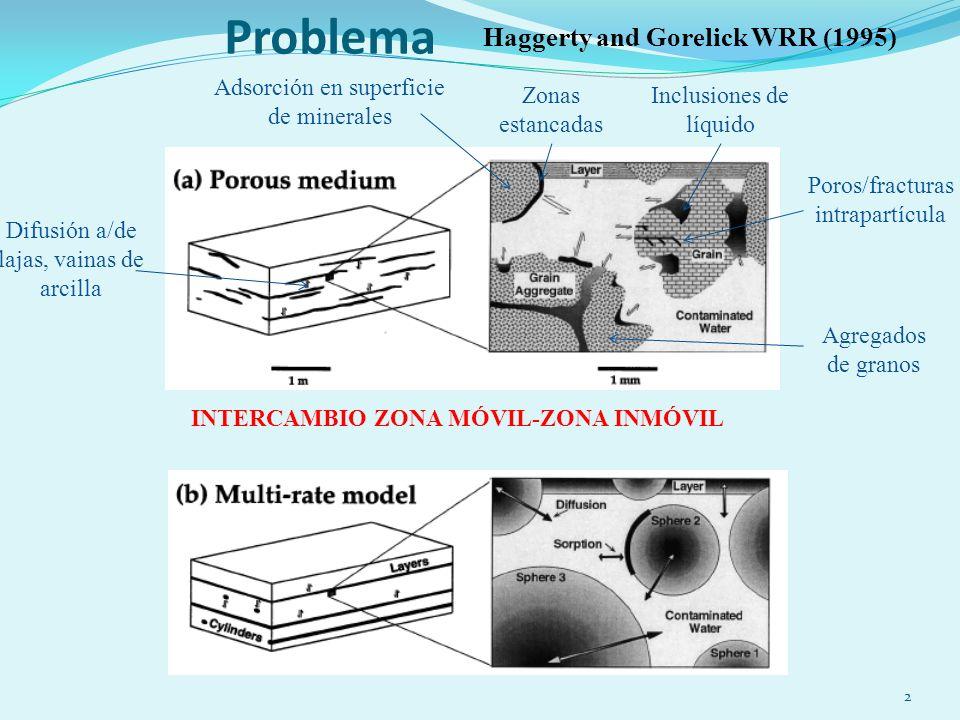 Problema 2 INTERCAMBIO ZONA MÓVIL-ZONA INMÓVIL Poros/fracturas intrapartícula Agregados de granos Inclusiones de líquido Zonas estancadas Difusión a/de lajas, vainas de arcilla Haggerty and Gorelick WRR (1995) Adsorción en superficie de minerales