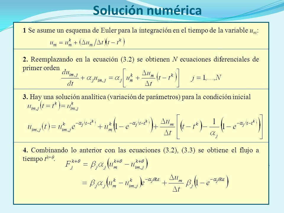 7 Solución numérica 1 Se asume un esquema de Euler para la integración en el tiempo de la variable u m : 2.