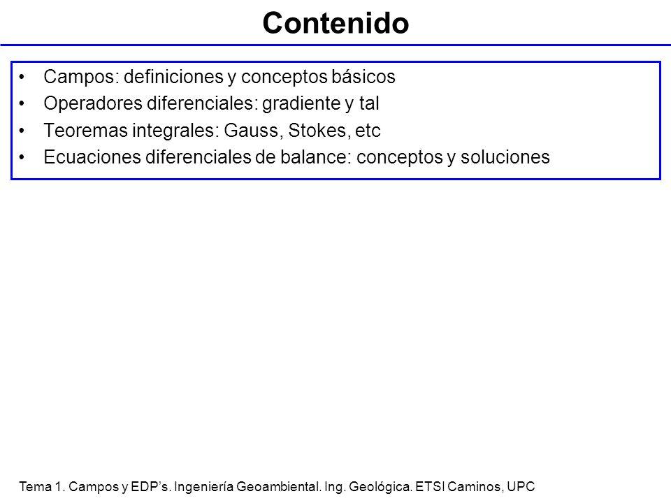 Tema 1. Campos y EDPs. Ingeniería Geoambiental. Ing. Geológica. ETSI Caminos, UPC Contenido Campos: definiciones y conceptos básicos Operadores difere