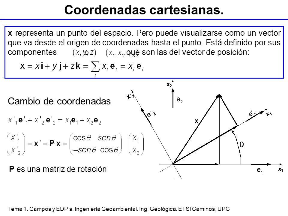 Tema 1. Campos y EDPs. Ingeniería Geoambiental. Ing. Geológica. ETSI Caminos, UPC Coordenadas cartesianas. P es una matriz de rotación Cambio de coord