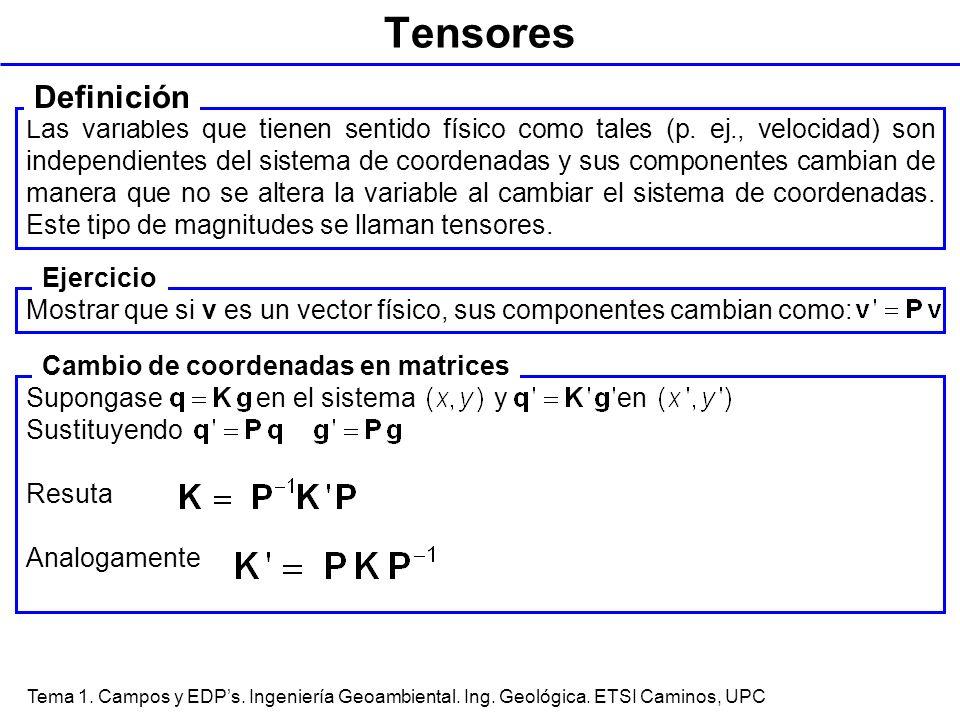 Tema 1. Campos y EDPs. Ingeniería Geoambiental. Ing. Geológica. ETSI Caminos, UPC Tensores Las variables que tienen sentido físico como tales (p. ej.,