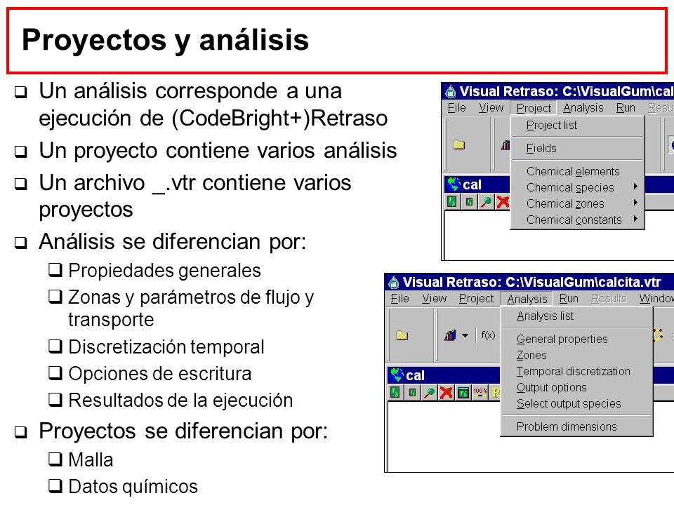 Proyectos y análisis Un análisis corresponde a una ejecución de (CodeBright+)Retraso Un proyecto contiene varios análisis Un archivo _.vtr contiene va