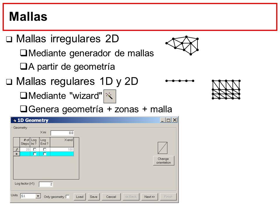 Mallas Mallas irregulares 2D Mediante generador de mallas A partir de geometría Mallas regulares 1D y 2D Mediante