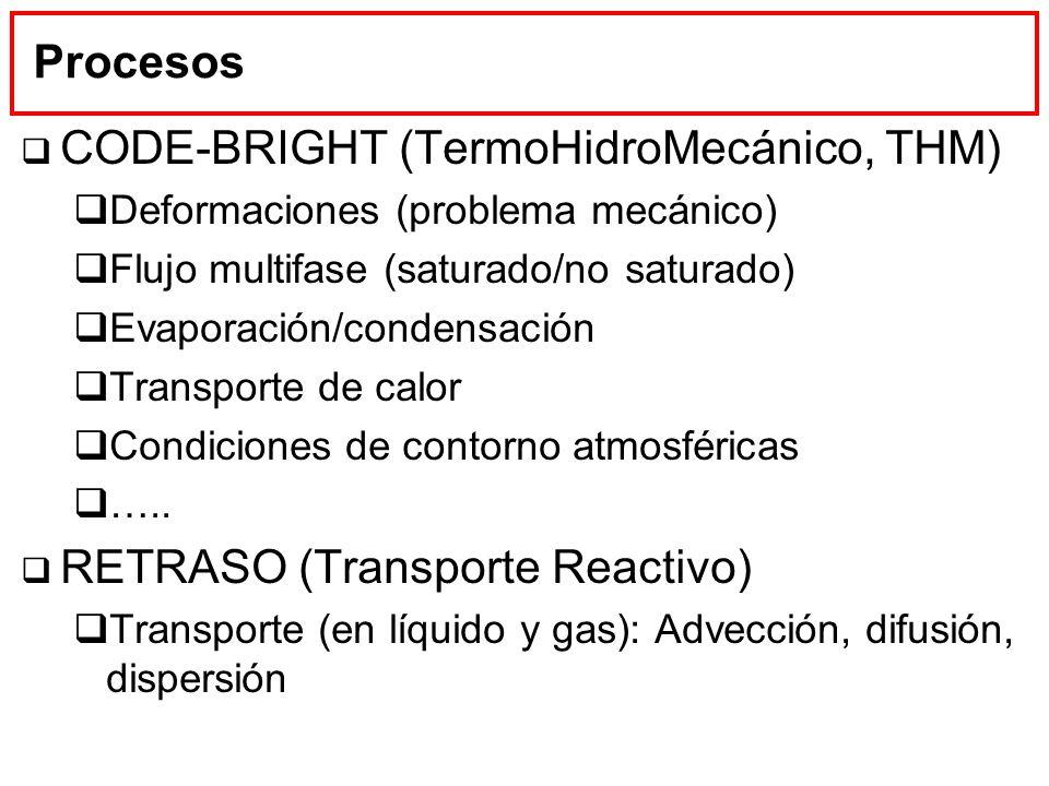Procesos CODE-BRIGHT (TermoHidroMecánico, THM) Deformaciones (problema mecánico) Flujo multifase (saturado/no saturado) Evaporación/condensación Trans