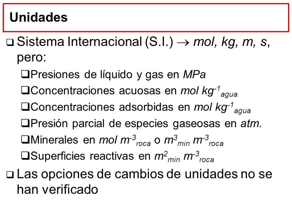 Unidades Sistema Internacional (S.I.) mol, kg, m, s, pero: Presiones de líquido y gas en MPa Concentraciones acuosas en mol kg -1 agua Concentraciones