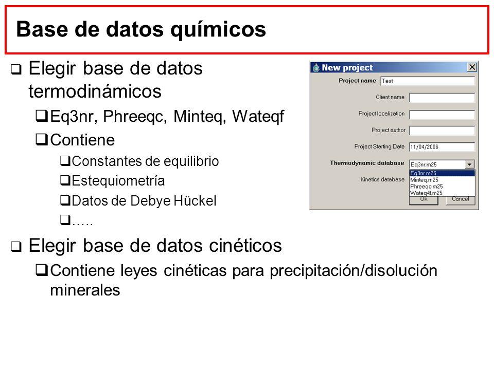 Base de datos químicos Elegir base de datos termodinámicos Eq3nr, Phreeqc, Minteq, Wateqf Contiene Constantes de equilibrio Estequiometría Datos de De