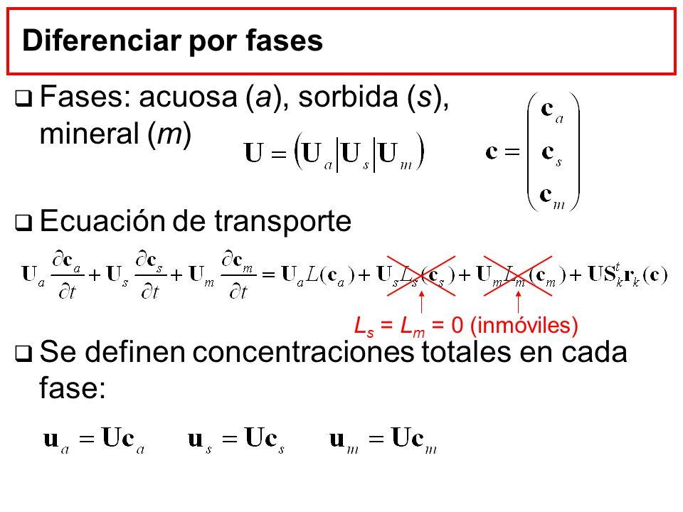 Diferenciar por fases Fases: acuosa (a), sorbida (s), mineral (m) Ecuación de transporte Se definen concentraciones totales en cada fase: L s = L m =