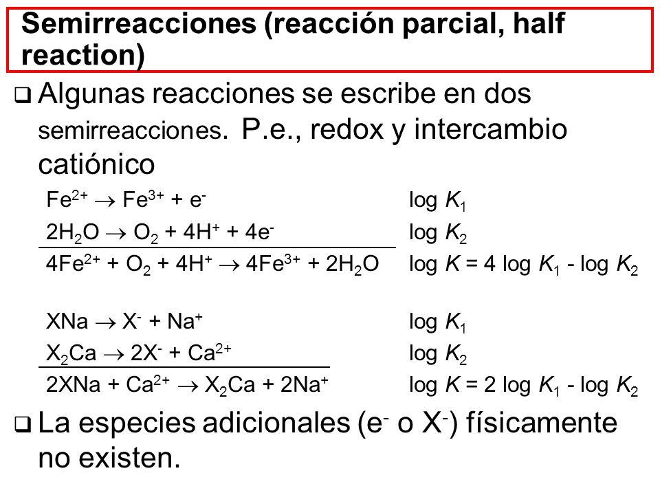 Semirreacciones (reacción parcial, half reaction) Algunas reacciones se escribe en dos semirreacciones. P.e., redox y intercambio catiónico Fe 2+ Fe 3