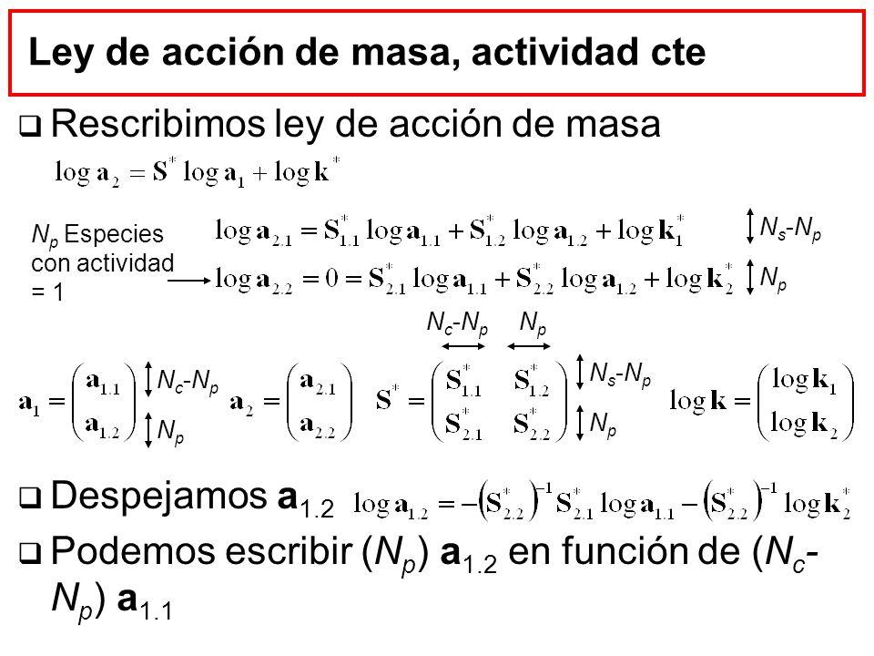 Ley de acción de masa, actividad cte Rescribimos ley de acción de masa Despejamos a 1.2 Podemos escribir (N p ) a 1.2 en función de (N c - N p ) a 1.1