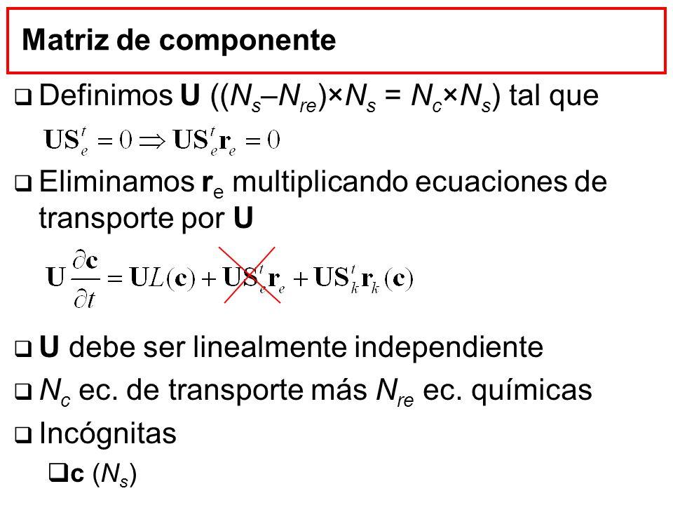 Matriz de componente Definimos U ((N s –N re )×N s = N c ×N s ) tal que Eliminamos r e multiplicando ecuaciones de transporte por U U debe ser linealm
