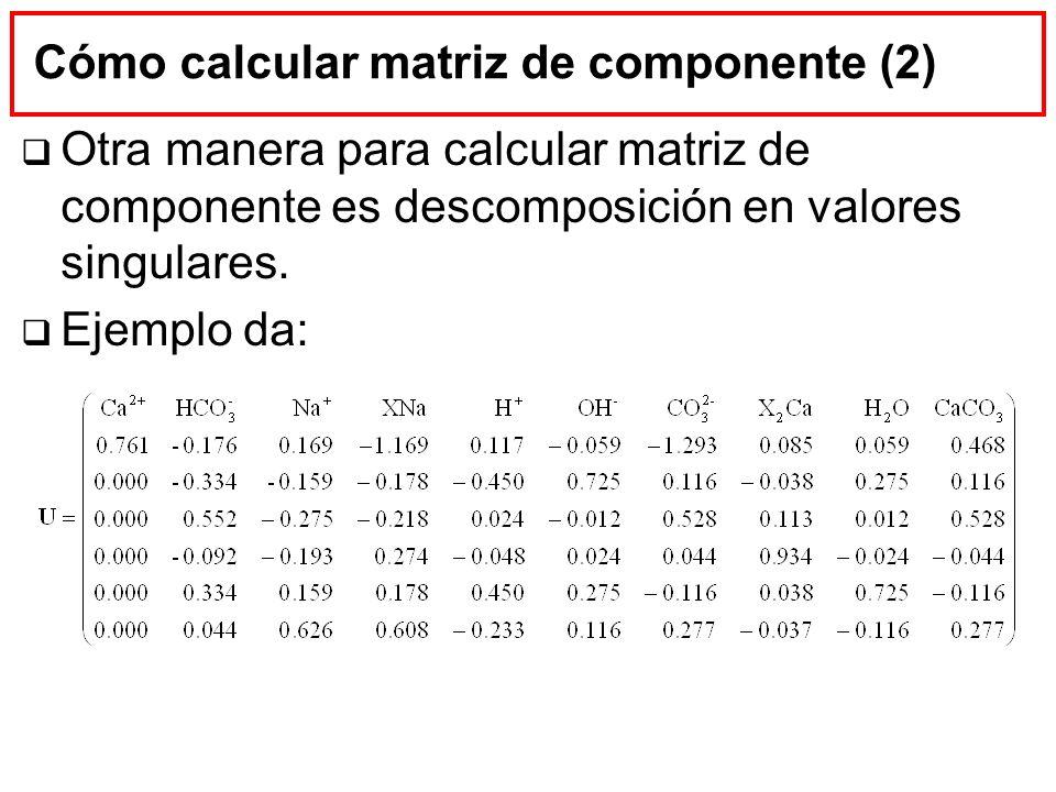 Cálculo de concentraciones eliminadas Despejar c p mediante ecuación de transporte con las concentraciones ya calculadas pero sin matriz de eliminación Más ecuaciones (N c ) que incógnitas (N p ) Quitar ecuaciones (ojo, invertibilidad) Mínimos cuadrados (en teoría error debe ser cero) Conocido (N c N p )